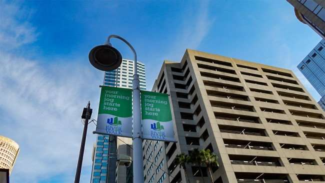 AUG 23, 2015 - Tampa Riverwalk sign - your morning jog starts hear at MacDill Park on the Riverwalk/photonews247.com