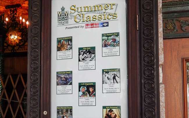 JULY 26, 2015 - Tampa Theatre Summer Classics Movie Series 2015 poster on sidewalk/photonews247.com