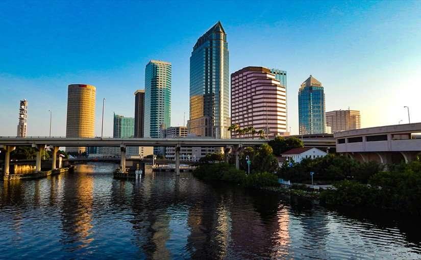 AUG 9, 2015 - Tampa cityscape along Hillsborough River from Platt Street Bridge/photonews247.com