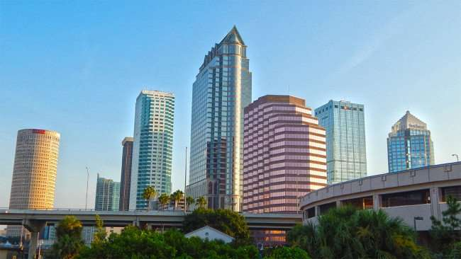 AUG 9, 2015 - Tampa skyscrapers from Platt St drawbridge in Downtown Tampa, FL/photonews247.com