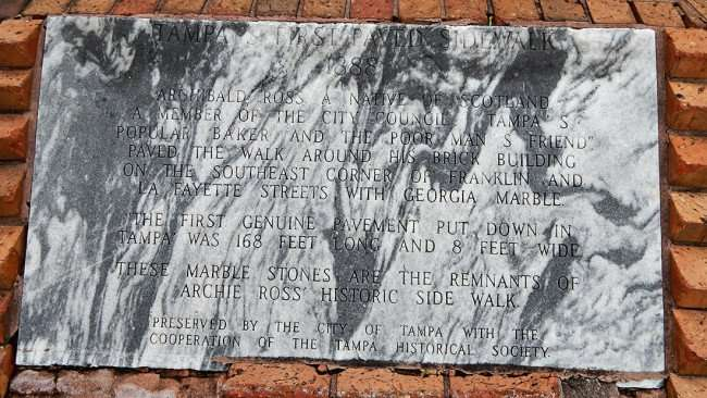 AUG 9, 2015 - Tampa's first sidewalk built 1888 out of Georgia Marble by Archibald Ross/photonews247.com