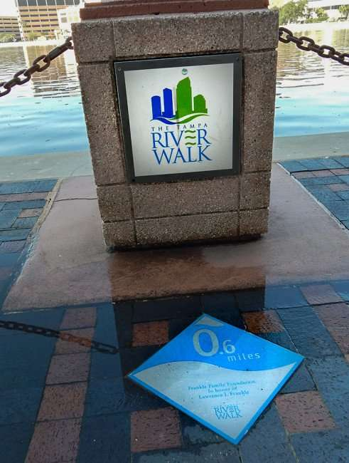 AUG 9, 2015 - The Tampa Riverwalk point 6 miles dedicated to honor Lawrence I Frankle that runs behind Tampa Convention Center, FL/photonews247.com