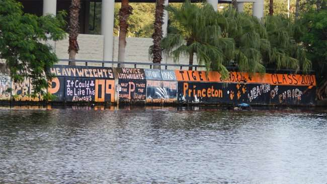 AUG 23, 2015 - UT graffiti from visiting crew teams on Hillsborough River, Tampa, FL/photonews247.com