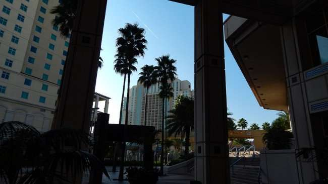 AUG 9, 2015 - Under the Tampa Convention Center portico at Franklin St Entrance with Marriott in the background
