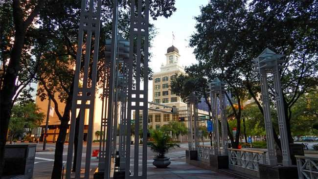 AUG 9, 2015 - View of Tampa Old City Hall from SunTrust Building rest area in Downtown Tampa, FL/photonews247.com