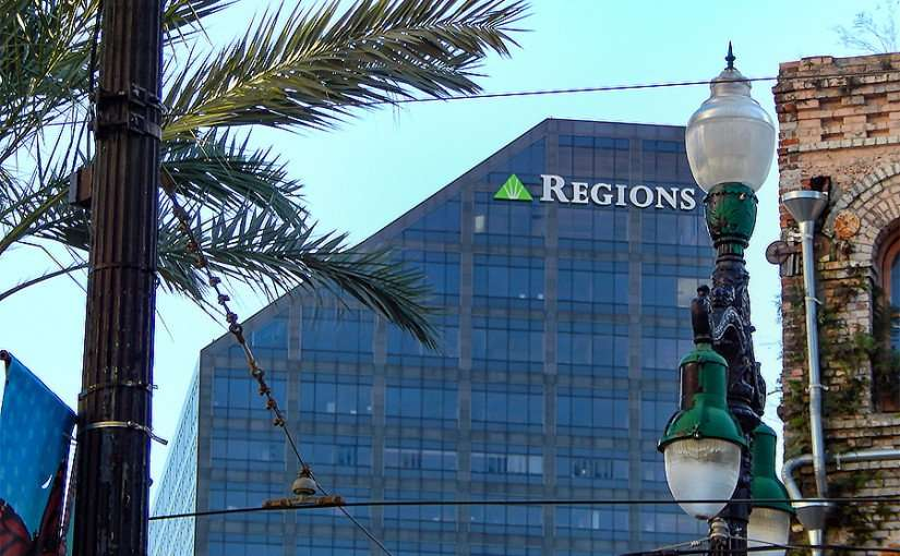 SEPT 13, 2015 - 400 Poydras Tower skyscraper with Regions logo at top in New Orleans/photonews247.com