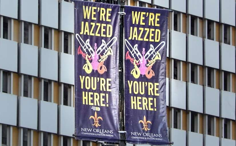 SEPT 13, 2015 - Banners that read Were Jazzed Youre Here by New Orleans Convention and Visitors Bureau/photonews247.com
