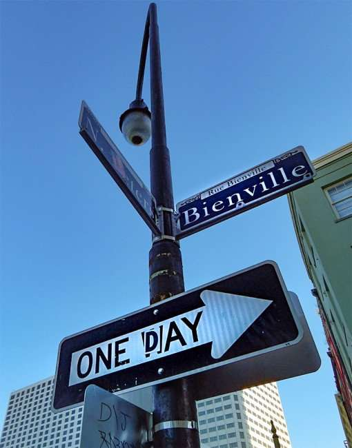 SEPT 13, 2015 - Bienville Street sign on lamp post with Arrow that reads One Day instead of One Way, New Orleans, LA/photonews247.com