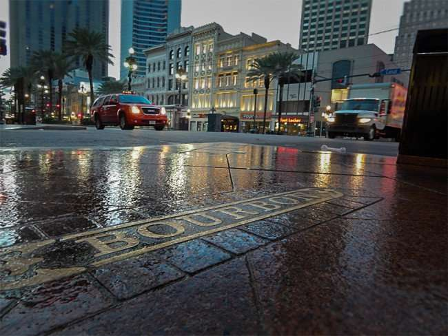 NOV 17, 2015 - Bourbon Street embedded in sidewalk intersecting Canal Street, New Orleans, LA/photonews247.com