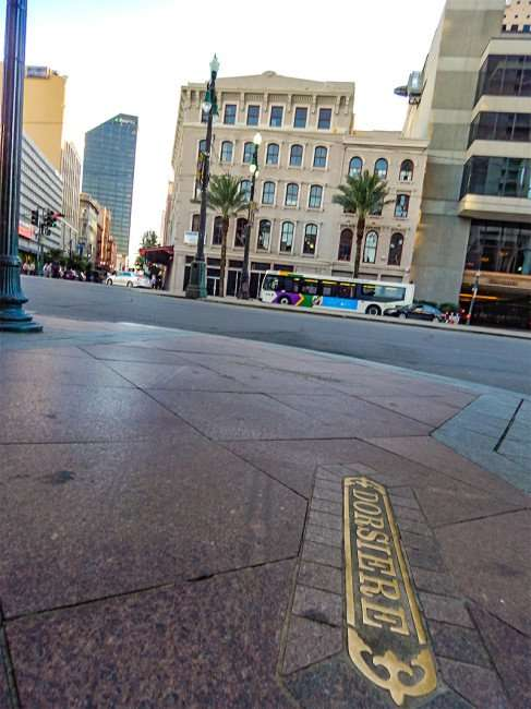SEPT 13, 2015 - Brass inlay of DORSIERE Street on sidewalk in New Orleans, LA/photonews247.com