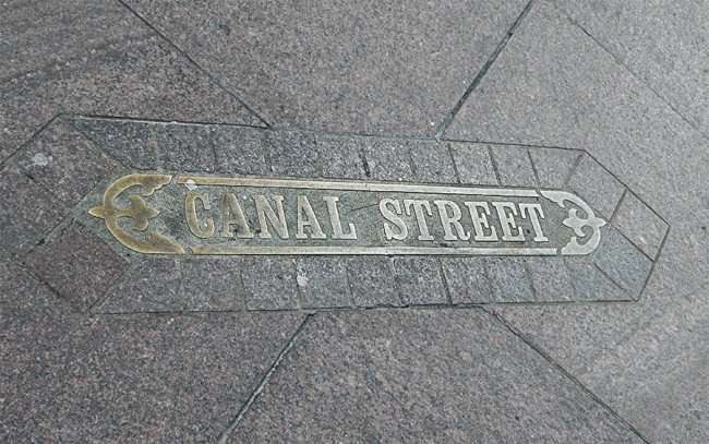 SEPT 13, 2015 - Canal Street embedded into the sidwalk with embossed lettering in New Orleans, LA/photonews247.com