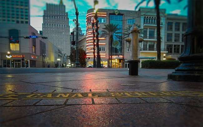 NOV 19, 2015 - Canal Street embedded with brass in sidewalk with CVS and Foot Locker in view in New Orleans, LA/photonews247.com