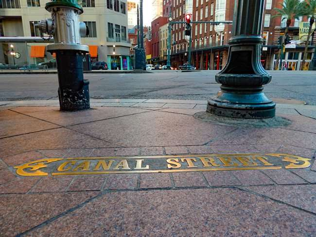 SEPT 14, 2015 - Canal Street name embedded into sidewalk, New Orleans, LA/photonews247.com
