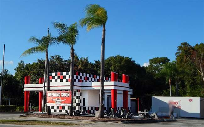 OCT 24, 2015 - Checkers Drive-In Restaurant construction with palm trees in front Sun City Center Blvd, Ruskin, FL/photonews247.com