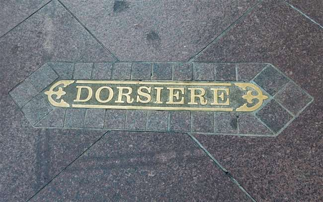 SEPT 13, 2015 - DORSIERE St name embedded in sidewalk in New Orleans/photonews247.com