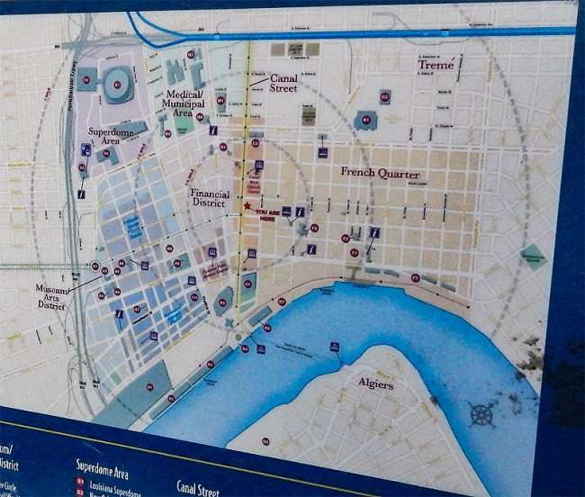 SEPT 13, 2015 - Detailed map of New Orleans along Canal Street/photonews247.com