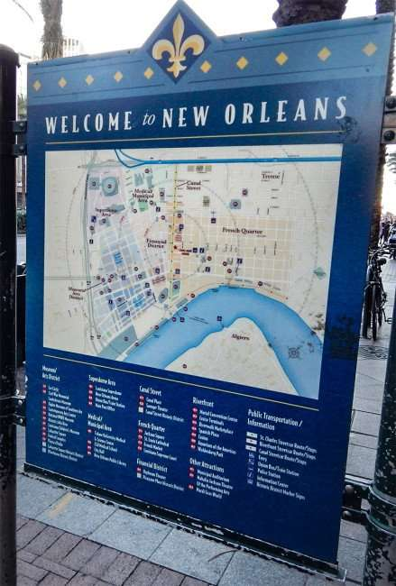 SEPT 13, 2015 - Detailed map of New Orleans on sidewalk along Canal Street/photonews247.com