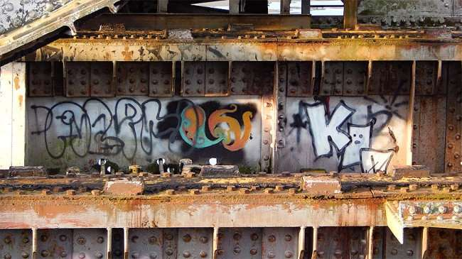 AUG 23, 2015 - Different graffiti images painted on Cass Street CSX Train bridge, Tampa, FL/photonews247.com