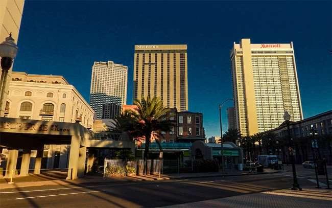 SEPT 14, 2015 - DoubelTree Hilton, Sheraton, Marriott buildings in New Orleans, LA/photonews247.com