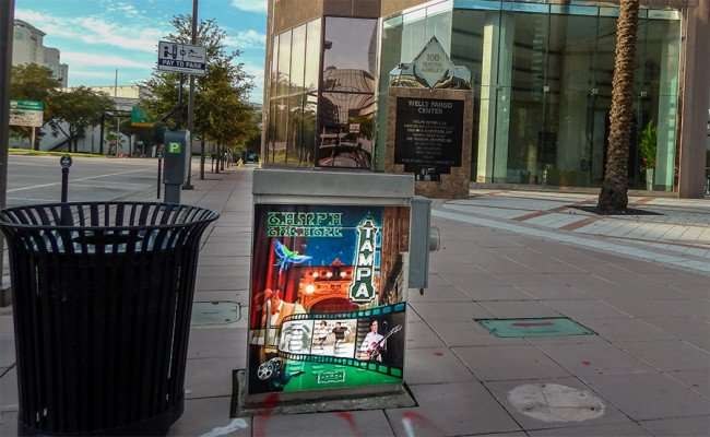 AUG 23, 2015 - Electric Box Art Tampa Theater on by Wells Fargo building Downtown Tampa, FL/photonews247.com