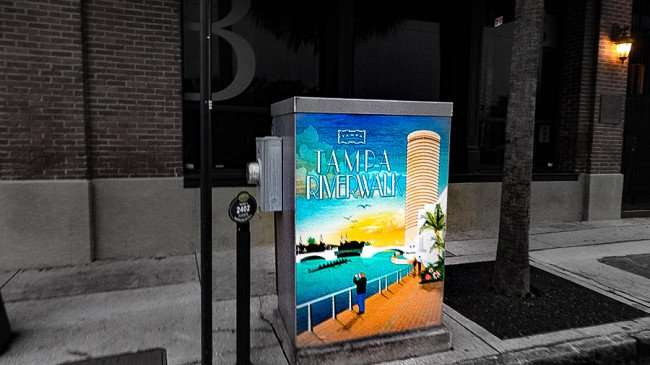 AUG 23, 2015 - Electric Box Art with Tampa Riverwalk painted on Madison Street a building down from L'Eden French Cafe/photonews247.com