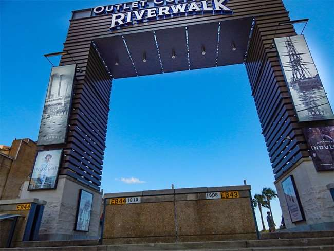 SEPT 14, 2015 - Entrance gate for New Orleans Riverwalk and shopping center outlet mall along the Mississippi/photonews247.com