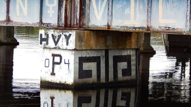 AUG 23, 2015 - Graffiti HVY P 04 painted on Cass Street Train Bridge, Tampa, FL/photonews247.com