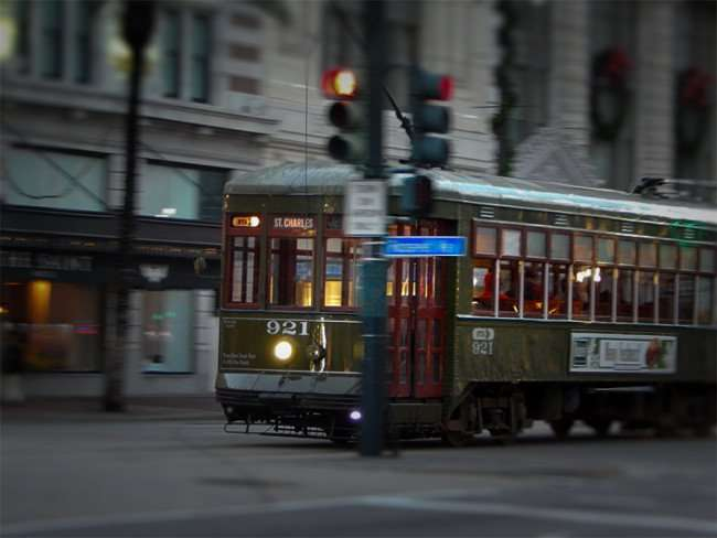 NOV 19, 2015 - Green RTA Streetcar 921 St Charles traveling on Canal Street in New Orleans, LA/photonews247.com