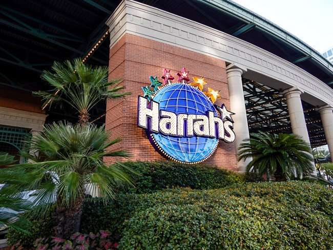 SEPT 13, 2015 - Harrahs Casino sign with logo at velet parking drop off in New Orleans/photonews247.com
