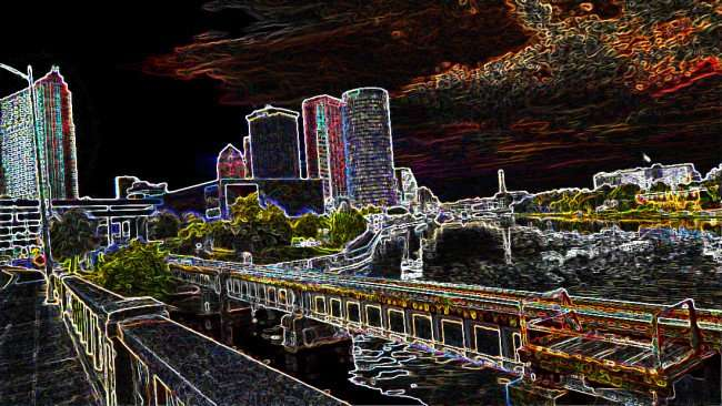 AUG 23, 2015 - Hillsborough River in Downtown Tampa with 'Stylized Filter' from Photoshop