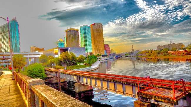 AUG 23, 2015 - Hillsborough River in Downtown Tampa with HDR Filter in Photoshop added FL/photonews247.com