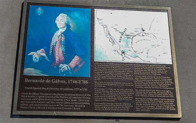 SEPT 14, 2015 - Historic marker for Sculpture of Bernardo de Galvez on horse since 1976/photonews247.com