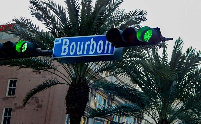 SEPT 23, 2015 - Horizontal taffic lights on corner of Bourbon Street and Canal Stree in New Orleans, LA/photonews247.com