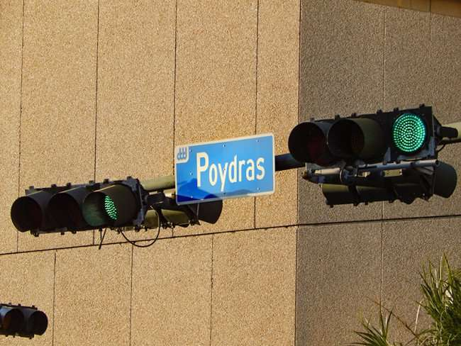 SEPT 14, 2015 - Horizontal traffic signal lights on Poydras Street with the Hilton in background inNew Orleans, LA/photonews247.com