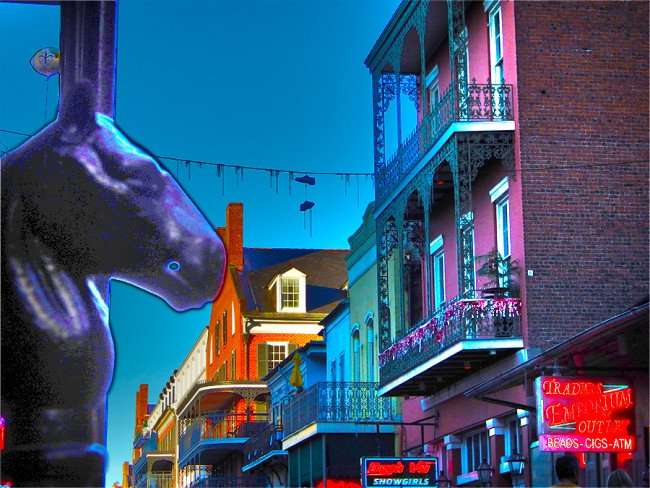 SEPT 13, 2015 - Horse head (L) for hitching post on Bourbon Street in the French Quarter of New Orleans, LA/photonews247.com
