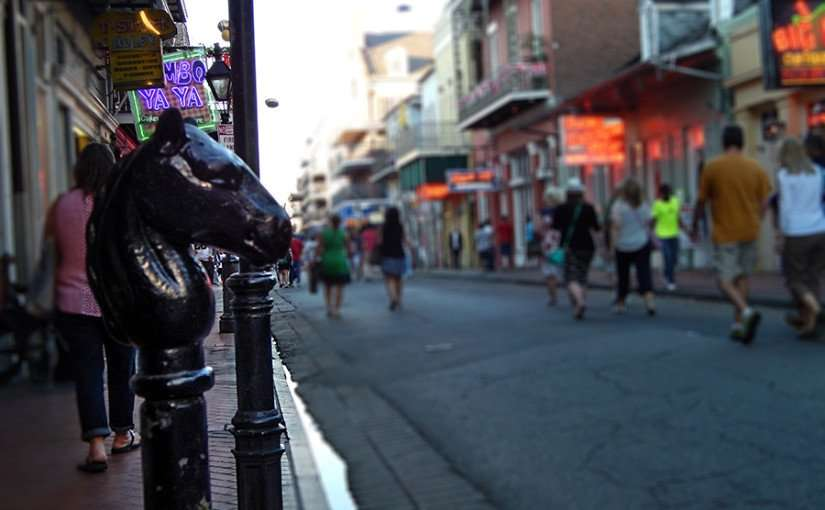 SEPT 13, 2015 - Horse head pole hitching posts in French Quarter of New Orleans, LA/photonews247.com