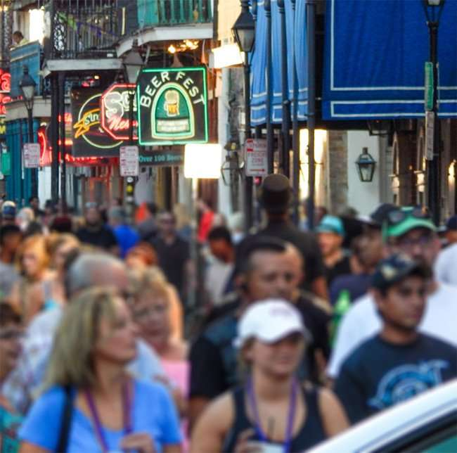 SEPT 13, 2015 - Hundreds of people on Bourbon Street on a Sunday in French Quarter of New Orleans LA/photonews247.com
