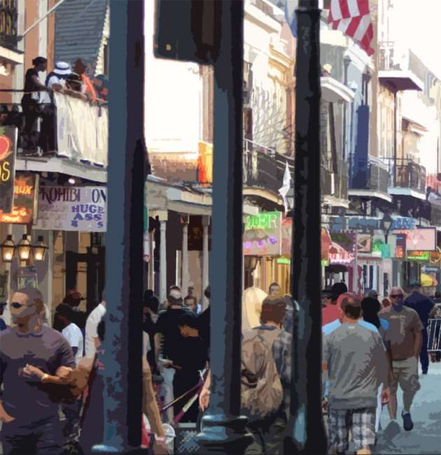 SEPT 13, 2015 - Hundreds of tourist and visitors on Bourbon St in the French Quarter of New Orleans/photonews247.com