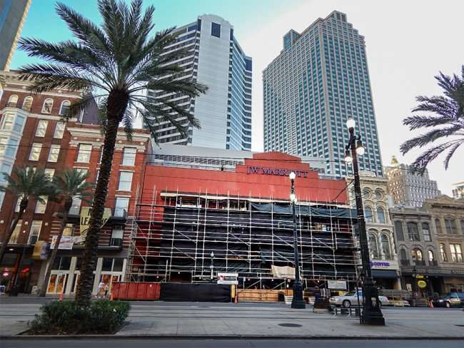 SEPT 13, 2015 - JW Marriott New Orleans front facade covered with scaffolding due to renovations on Canal Street/photonews247.com