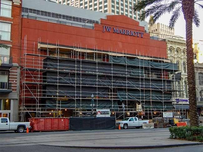 SEPT 14, 2015 - JW Marriott facade renovation from Canal Street, New Orleans, LA/photonews247.com