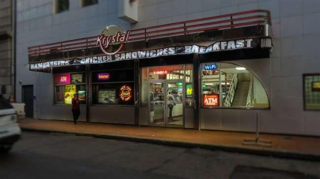 Jan 10, 2017 - Krystal hamburgers on Canal Street, New Orleans, French Quarter/photonews247.com