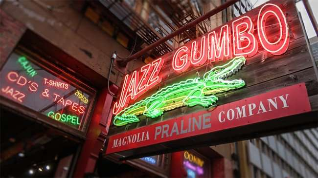 Dec 23, 2015 - Neon sign for Jazz Gumbo Shop on Canal Street, New Orleans, LA/photonews247.com