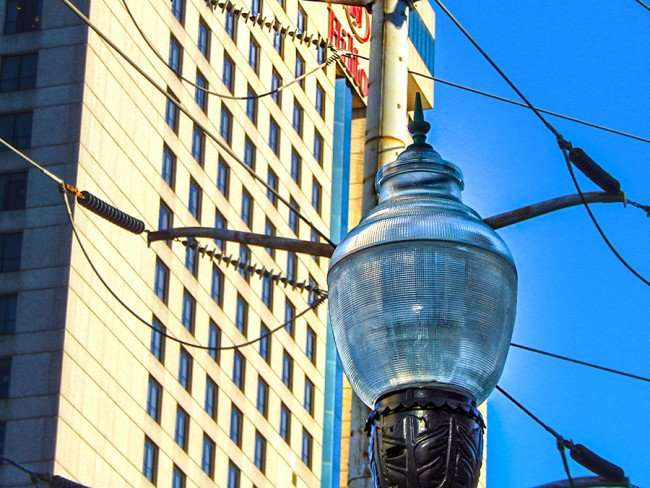 SEPT 13, 2015 - New Street Lamp in front of Hilton Hotel downtown New Orleans/photonews247.com