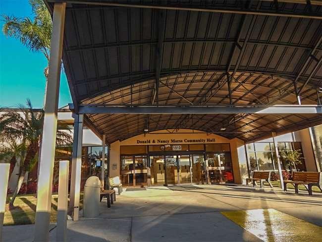 NOV 23, 2015 - New drive-under lighted portico at Community Hall on South Pebble Beach Blvd, Sun City Center FL/photonews247.com