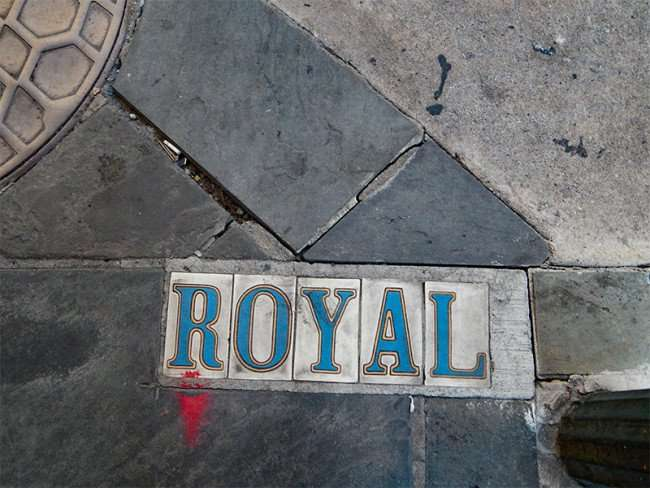 SEPT 13, 2015 - Royal Street embedded in street with tiles in New Orleans French Quarter/photonews247.com