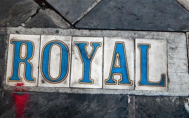 SEPT 13, 2015 - Royal Street name made from tiles embedded in sidewalk in New Orleans French Quarter/photonews247.com