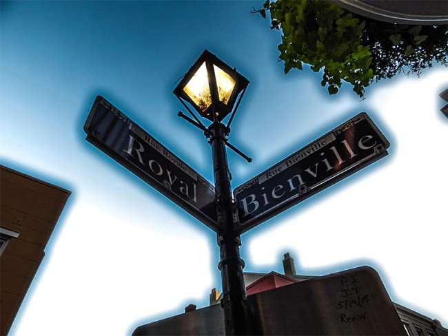 SEPT 14, 2015 - Royal and Bienville Street sign lamp post in New Orleans, LA/photonews247.com