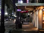 SEPT 14, 2015 - Saint James Hotel from Natchez Street at night in New Orleans, LA/photonews247.com