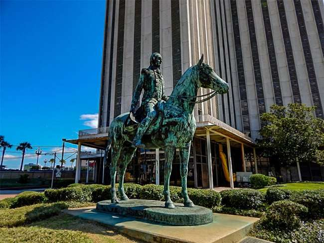 SEPT 14, 2015 - Sculpture of Bernardo de Galvez on horse in front of World Trade Center since 1976, New Orleans, LA/photonews247.com