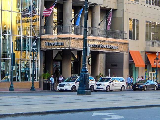 SEPT 13, 2015 - Sheraton New Orleans front portico with taxi cabs parked/photonews247.com